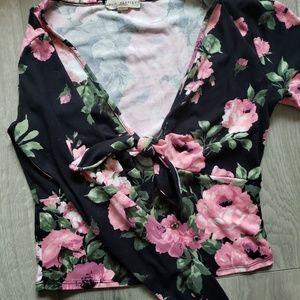 LA hearts/pacsun floral crop top